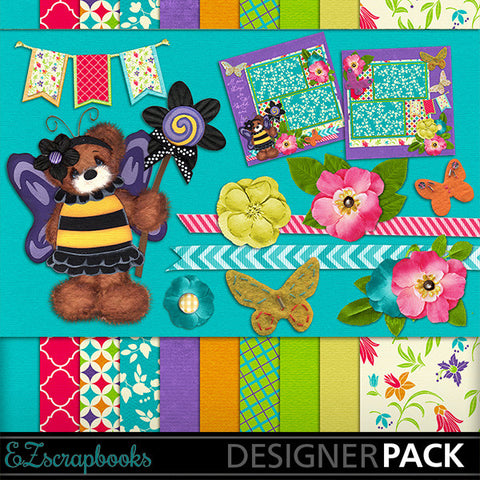 Fairy Bear Digital Kit - INSTANT DOWNLOAD - EZscrapbooks Scrapbook Layouts Girls, Kits
