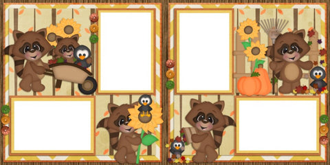 Fall Day Raccoons - Digital Scrapbook Pages - INSTANT DOWNLOAD