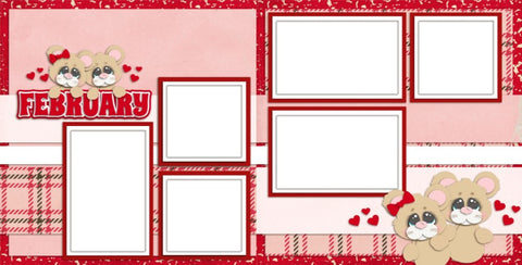 February - Digital Scrapbook Pages - INSTANT DOWNLOAD - EZscrapbooks Scrapbook Layouts Love - Valentine, Months of the Year