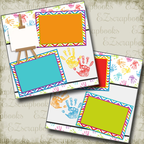 Fingerpainting - 2512 - EZscrapbooks Scrapbook Layouts Baby - Toddler, Kids, School