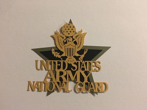 US Army National Guard Gold - 11928 - Laser Die Cut - EZscrapbooks Scrapbook Layouts Military
