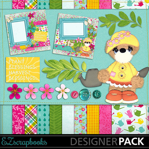 Garden Party Bear Digital Kit - INSTANT DOWNLOAD