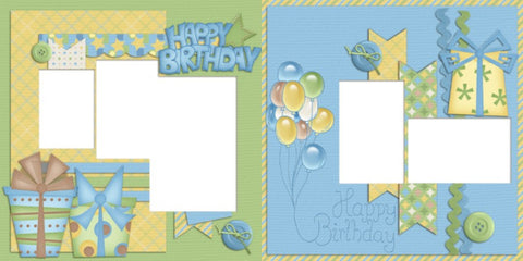 Happy Birthday Boy - Digital Scrapbook Pages - INSTANT DOWNLOAD