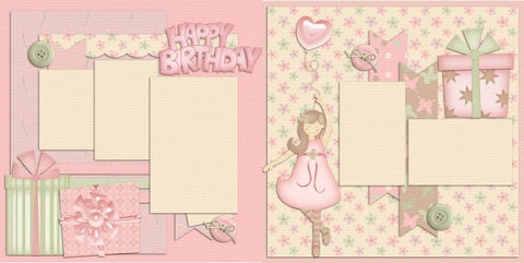 Happy Birthday Girl - Digital Scrapbook Pages - INSTANT DOWNLOAD