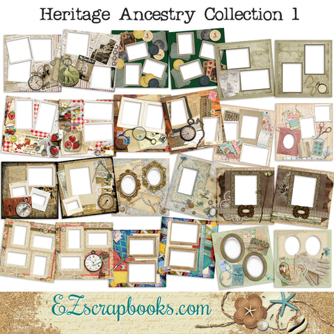 Heritage Ancestry Collection 1 -  Digital Bundle - 24 Digital Scrapbook Pages - INSTANT DOWNLOAD