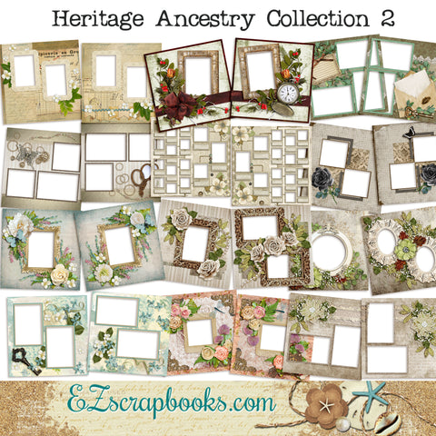 Heritage Ancestry Collection 2 -  Digital Bundle - 24 Digital Scrapbook Pages - INSTANT DOWNLOAD