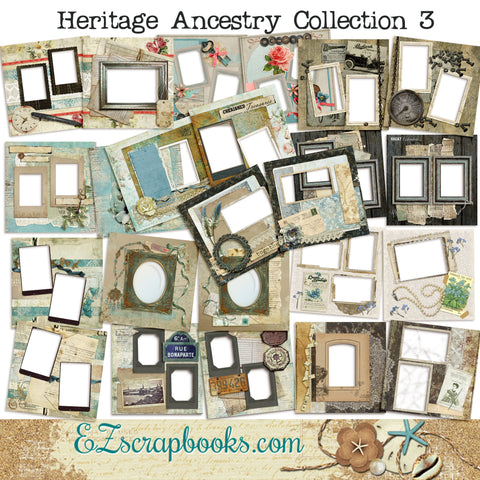 Heritage Ancestry Collection 3 -  Digital Bundle - 24 Digital Scrapbook Pages - INSTANT DOWNLOAD