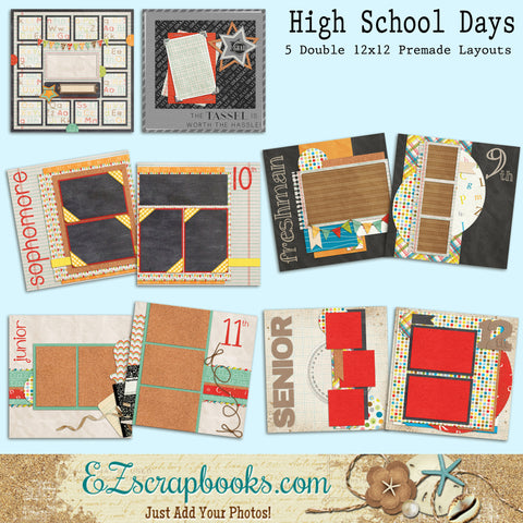 High School Days Set of 5 Double Page Layouts - EZscrapbooks Scrapbook Layouts Kids, School
