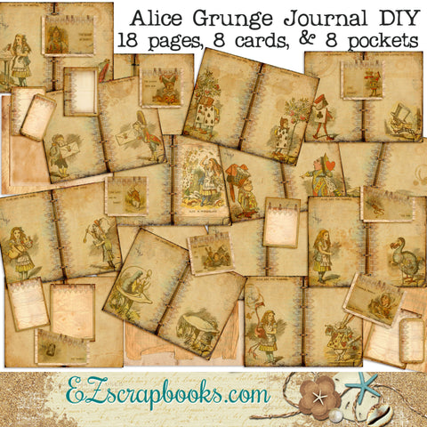 Alice in Wonderland Grunge Journal - 7094