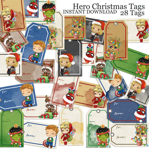 Superhero Christmas Tags - INSTANT DOWNLOAD - 2019 - EZscrapbooks Scrapbook Layouts Christmas