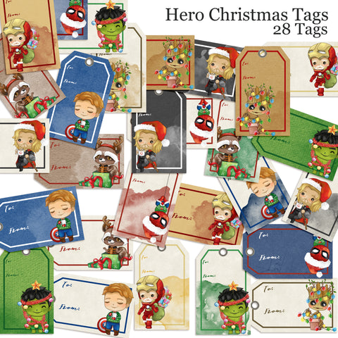 Superhero Christmas Tags