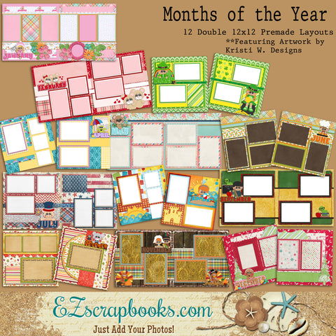 Months of the Year - 12 Double Page Layouts - EZscrapbooks Scrapbook Layouts Family, Months of the Year