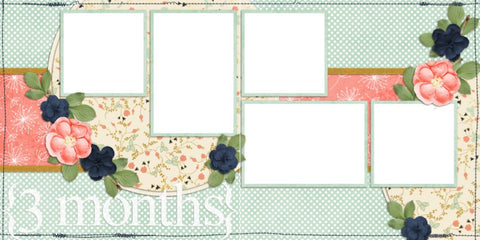 Baby Girl 3 Months - Digital Scrapbook Pages - INSTANT DOWNLOAD - EZscrapbooks Scrapbook Layouts Baby - Toddler