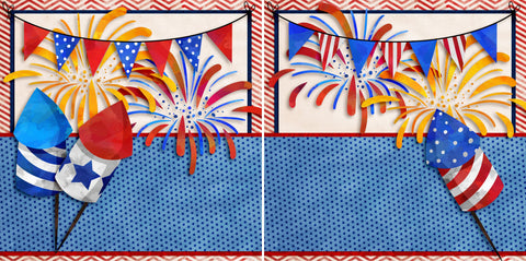 Fireworks NPM - 2756 - EZscrapbooks Scrapbook Layouts July 4th - Patriotic