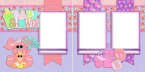 Baby Shower Girl - Digital Scrapbook Pages - INSTANT DOWNLOAD