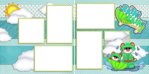 Rain Rain Go Away - Digital Scrapbook Pages - INSTANT DOWNLOAD