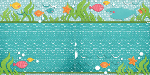 Little Fishies NPM - 2327 - EZscrapbooks Scrapbook Layouts Beach - Tropical, Swimming - Pool