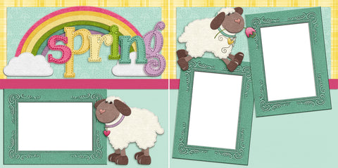 Spring Lambs - Digital Scrapbook Pages - INSTANT DOWNLOAD - EZscrapbooks Scrapbook Layouts Spring, Spring - Easter, sweet