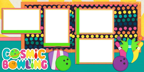 Cosmic Bowling - Digital Scrapbook Pages - INSTANT DOWNLOAD - EZscrapbooks Scrapbook Layouts bowling, Sports