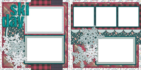 Ski Day - Digital Scrapbook Pages - INSTANT DOWNLOAD - EZscrapbooks Scrapbook Layouts Christmas, Winter