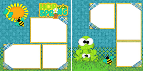Hop into Sprint - Digital Scrapbook Pages - INSTANT DOWNLOAD - EZscrapbooks Scrapbook Layouts Spring - Easter