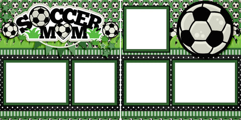 Soccer Mom Green - Digital Scrapbook Pages - INSTANT DOWNLOAD - EZscrapbooks Scrapbook Layouts Sports