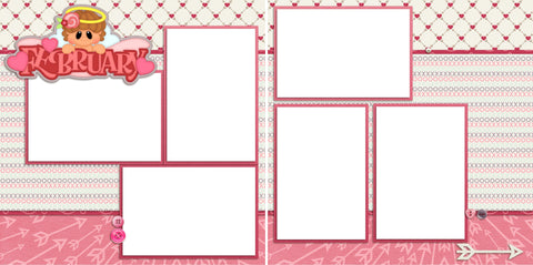 February - Digital Scrapbook Pages - INSTANT DOWNLOAD