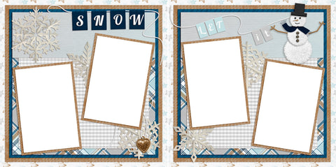 Let It Snow Snowman - Digital Scrapbook Pages - INSTANT DOWNLOAD - EZscrapbooks Scrapbook Layouts Christmas, holidays, santa