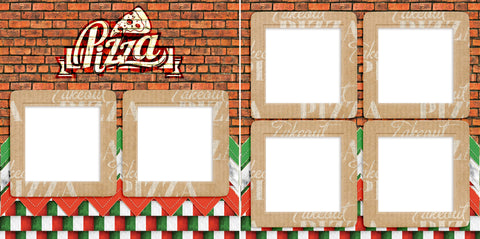 Brick Wall Pizza - Digital Scrapbook Pages - INSTANT DOWNLOAD - EZscrapbooks Scrapbook Layouts pizza, takeout