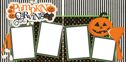 Pumpkin Carving - Digital Scrapbook Pages - INSTANT DOWNLOAD