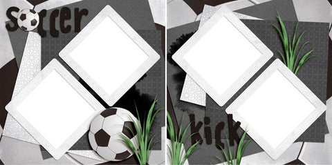 Soccer Kick - Digital Scrapbook Pages - INSTANT DOWNLOAD - EZscrapbooks Scrapbook Layouts soccer, Sports