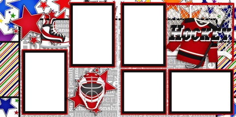 Hockey - Digital Scrapbook Pages - INSTANT DOWNLOAD - EZscrapbooks Scrapbook Layouts Hockey, Sports
