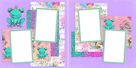 Fairytale Froggie - Digital Scrapbook Pages - INSTANT DOWNLOAD - EZscrapbooks Scrapbook Layouts fairytale, frog, girl, kid, princess