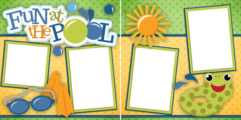Fun at the Pool -Digital Scrapbook Pages - INSTANT DOWNLOAD