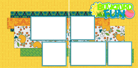 Backyard Fun -Digital Scrapbook Pages - INSTANT DOWNLOAD - EZscrapbooks Scrapbook Layouts Summer