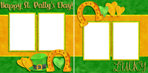 Lucky Horseshoes - Digital Scrapbook Pages - INSTANT DOWNLOAD - EZscrapbooks Scrapbook Layouts St Patrick's Day