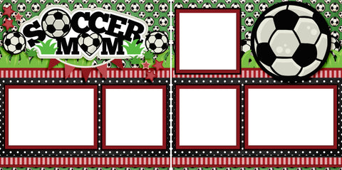 Soccer Mom Red - Digital Scrapbook Pages - INSTANT DOWNLOAD