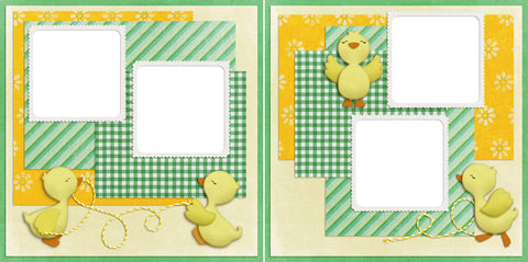 Duckies at Play - Digital Scrapbook Pages - INSTANT DOWNLOAD - EZscrapbooks Scrapbook Layouts duckling, ducks, Spring, Spring - Easter, sweet
