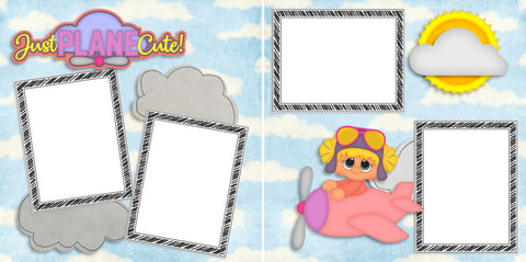 Just Plane Cute Girl - Digital Scrapbook Pages - INSTANT DOWNLOAD