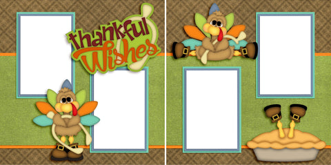 Thankful Wishes - Digital Quick Page Set - INSTANT DOWNLOAD - EZscrapbooks Scrapbook Layouts Thanksgiving