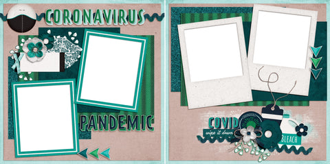 Corona Virus - Digital Scrapbook Pages - INSTANT DOWNLOAD - EZscrapbooks Scrapbook Layouts Quarantine-Corona