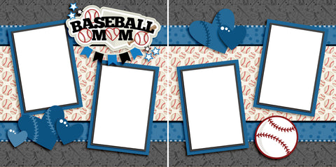 Baseball Mom Blue - Digital Scrapbook Pages - INSTANT DOWNLOAD