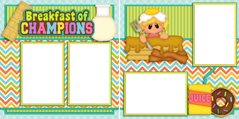 Breakfast of Champions Girl - Digital Scrapbook Pages - INSTANT DOWNLOAD - EZscrapbooks Scrapbook Layouts Foods, Kids