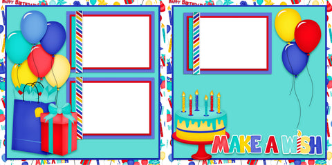 Make a Wish Blue - Digital Scrapbook Pages - INSTANT DOWNLOAD
