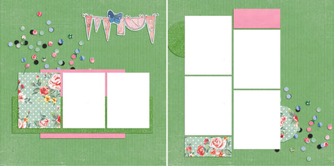 Spring - Digital Scrapbook Pages - INSTANT DOWNLOAD - EZscrapbooks Scrapbook Layouts flowers, green, seasons, Spring