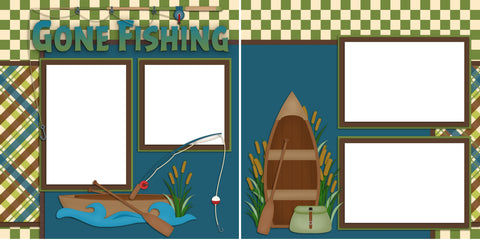 Gone Fishing - Digital Scrapbook Pages - INSTANT DOWNLOAD