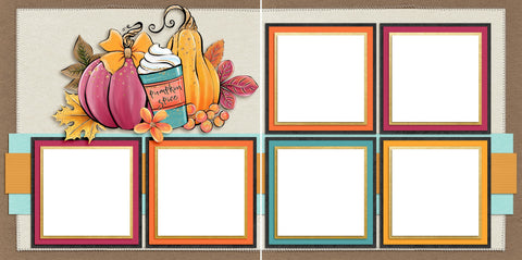 Pumpkin Spice Everything - Digital Scrapbook Pages - INSTANT DOWNLOAD - EZscrapbooks Scrapbook Layouts Fall - Autumn