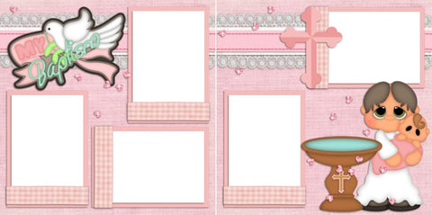 My Baptism Girl - Digital Scrapbook Pages - INSTANT DOWNLOAD - EZscrapbooks Scrapbook Layouts Baby - Toddler, Faith - Religious, Girls