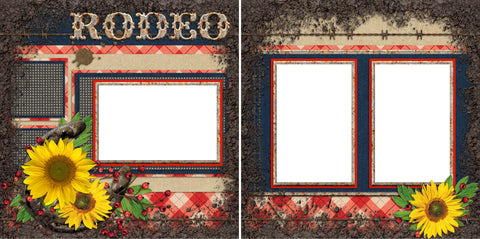 Rodeo - Digital Scrapbook Pages - INSTANT DOWNLOAD - EZscrapbooks Scrapbook Layouts Western - Cowboy