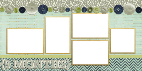 Baby Boy 9 Months - Digital Scrapbook Pages - INSTANT DOWNLOAD